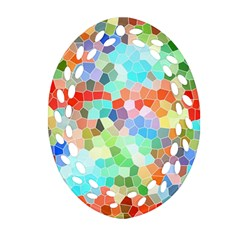 Colorful Mosaic  Ornament (oval Filigree)  by designworld65