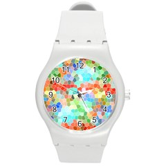 Colorful Mosaic  Round Plastic Sport Watch (m) by designworld65