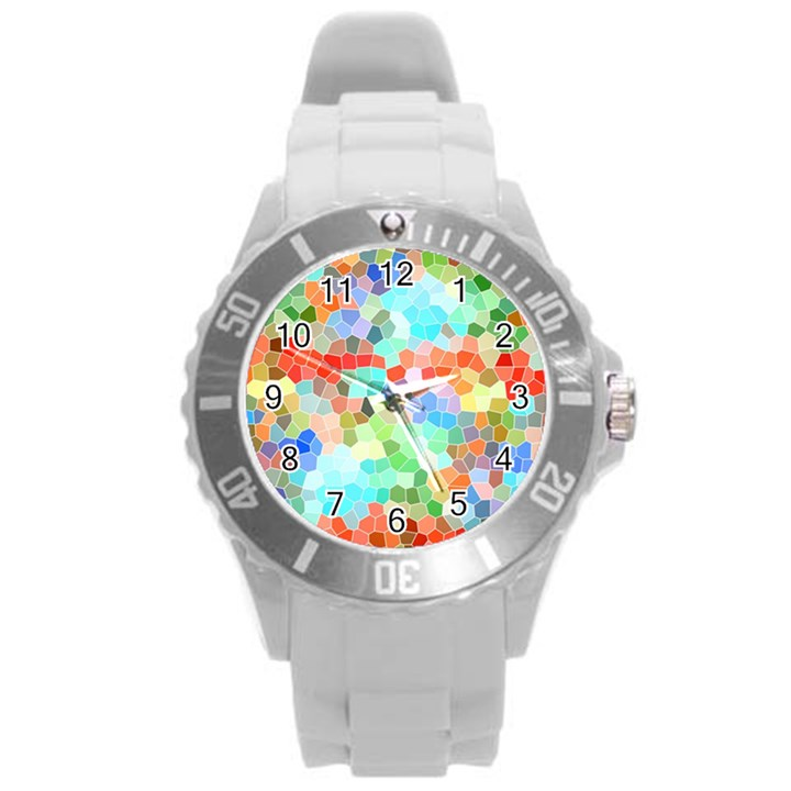Colorful Mosaic  Round Plastic Sport Watch (L)