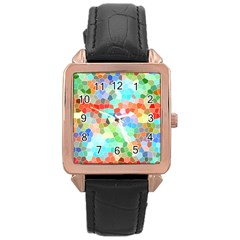 Colorful Mosaic  Rose Gold Leather Watch  by designworld65