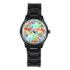 Colorful Mosaic  Stainless Steel Round Watch by designworld65