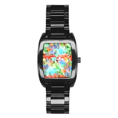 Colorful Mosaic  Stainless Steel Barrel Watch by designworld65