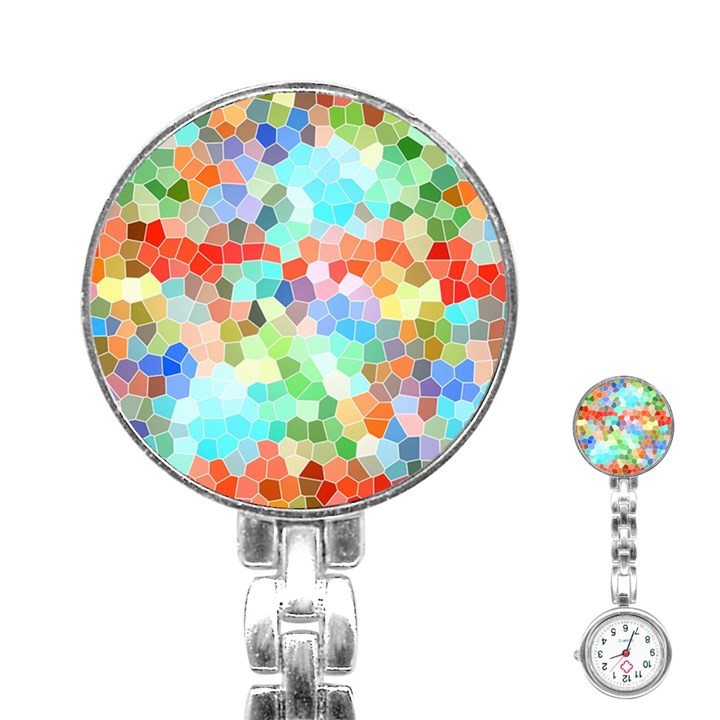Colorful Mosaic  Stainless Steel Nurses Watch