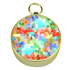 Colorful Mosaic  Gold Compasses by designworld65