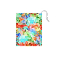 Colorful Mosaic  Drawstring Pouches (small)  by designworld65