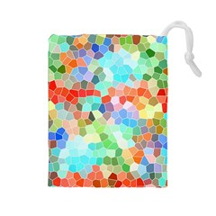 Colorful Mosaic  Drawstring Pouches (large)  by designworld65