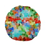 Colorful Mosaic  Standard 15  Premium Flano Round Cushions Back