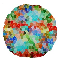 Colorful Mosaic  Large 18  Premium Flano Round Cushions by designworld65