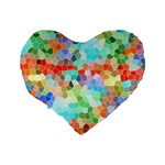 Colorful Mosaic  Standard 16  Premium Flano Heart Shape Cushions Back