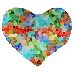 Colorful Mosaic  Large 19  Premium Flano Heart Shape Cushions by designworld65