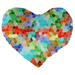 Colorful Mosaic  Large 19  Premium Flano Heart Shape Cushions