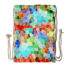 Colorful Mosaic  Drawstring Bag (large)