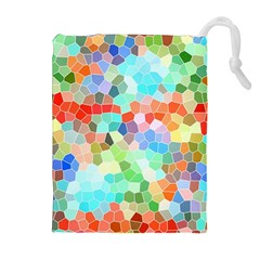 Colorful Mosaic  Drawstring Pouches (extra Large) by designworld65