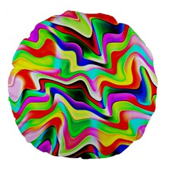 Irritation Colorful Dream Large 18  Premium Flano Round Cushions
