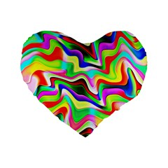 Irritation Colorful Dream Standard 16  Premium Flano Heart Shape Cushions by designworld65