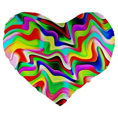 Irritation Colorful Dream Large 19  Premium Flano Heart Shape Cushions by designworld65