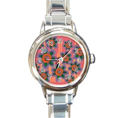 Colorful Floral Dream Round Italian Charm Watch by DanaeStudio