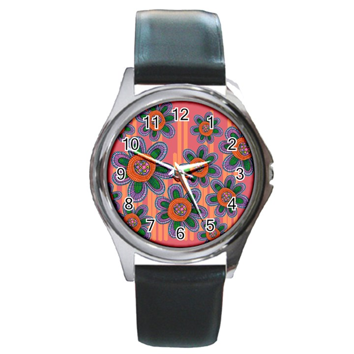 Colorful Floral Dream Round Metal Watch
