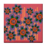 Colorful Floral Dream Tile Coasters Front