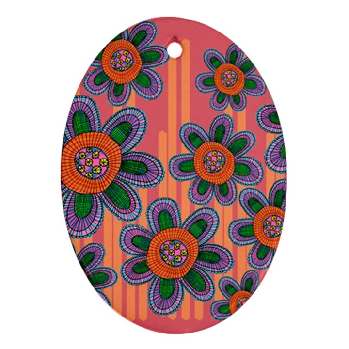 Colorful Floral Dream Ornament (Oval)