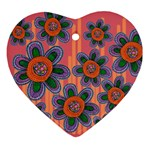 Colorful Floral Dream Ornament (Heart)  Front
