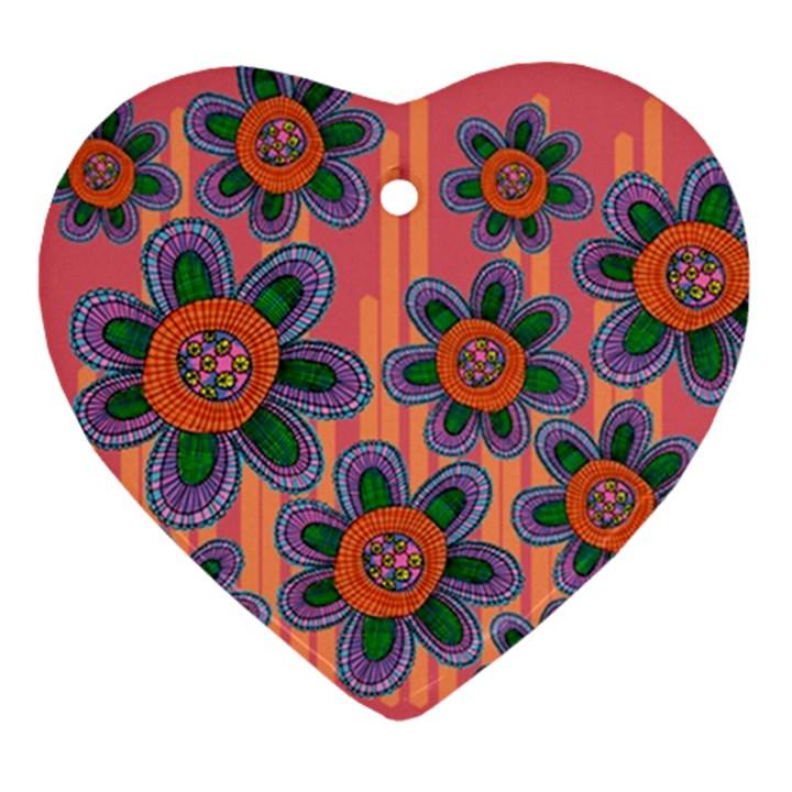 Colorful Floral Dream Ornament (Heart)