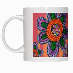 Colorful Floral Dream White Mugs by DanaeStudio