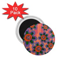 Colorful Floral Dream 1.75  Magnets (10 pack)