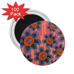 Colorful Floral Dream 2 25  Magnets (100 Pack)  by DanaeStudio