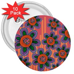 Colorful Floral Dream 3  Buttons (10 Pack)  by DanaeStudio