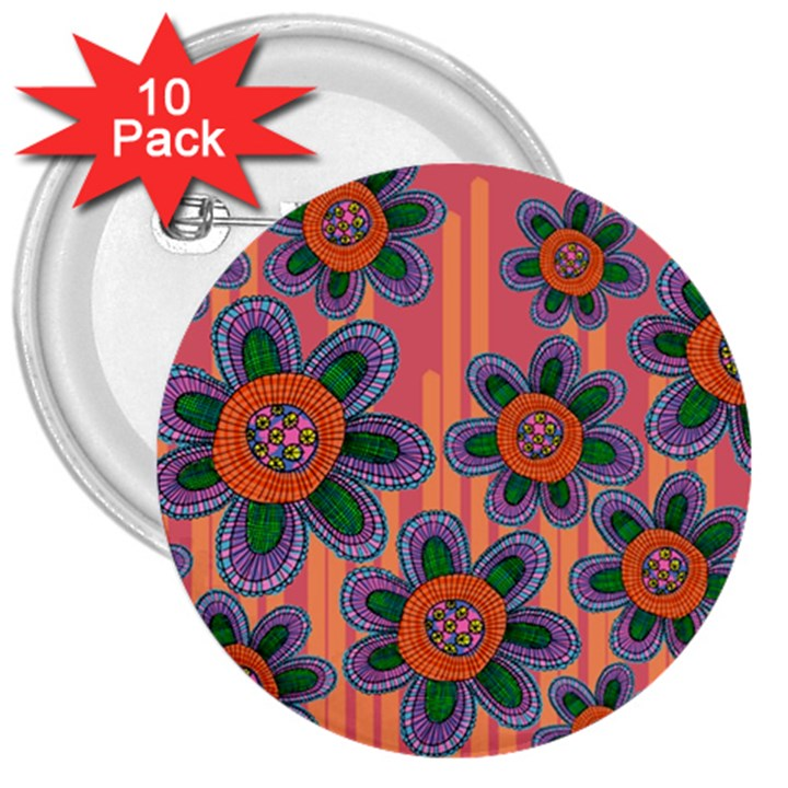 Colorful Floral Dream 3  Buttons (10 pack)