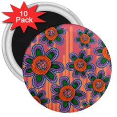 Colorful Floral Dream 3  Magnets (10 Pack)