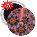 Colorful Floral Dream 3  Magnets (10 pack)  Front