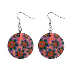 Colorful Floral Dream Mini Button Earrings by DanaeStudio