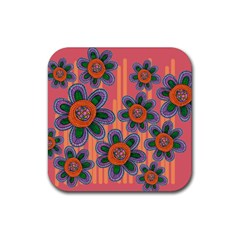 Colorful Floral Dream Rubber Coaster (square)  by DanaeStudio