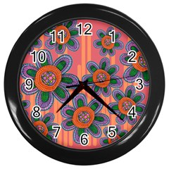 Colorful Floral Dream Wall Clocks (black) by DanaeStudio