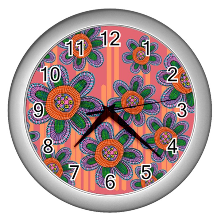 Colorful Floral Dream Wall Clocks (Silver)