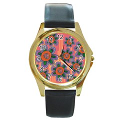 Colorful Floral Dream Round Gold Metal Watch by DanaeStudio