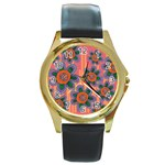 Colorful Floral Dream Round Gold Metal Watch Front