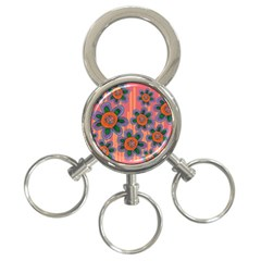 Colorful Floral Dream 3-Ring Key Chains