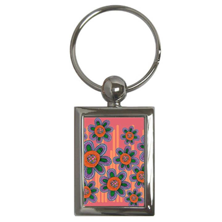 Colorful Floral Dream Key Chains (Rectangle)