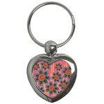Colorful Floral Dream Key Chains (Heart)  Front