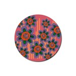 Colorful Floral Dream Rubber Round Coaster (4 pack)  Front