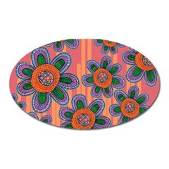 Colorful Floral Dream Oval Magnet by DanaeStudio