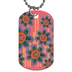 Colorful Floral Dream Dog Tag (two Sides) by DanaeStudio