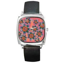Colorful Floral Dream Square Metal Watch by DanaeStudio