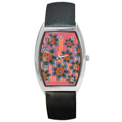 Colorful Floral Dream Barrel Style Metal Watch by DanaeStudio