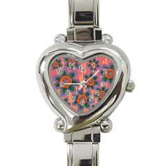 Colorful Floral Dream Heart Italian Charm Watch by DanaeStudio