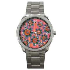 Colorful Floral Dream Sport Metal Watch by DanaeStudio