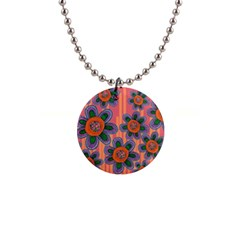 Colorful Floral Dream Button Necklaces by DanaeStudio
